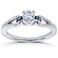 engagement rings inexpensive inexpensive 1 2 carat white and blue engagement ring