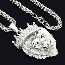 big necklace pendants images Big lion head necklacevintage gold silver color jpg