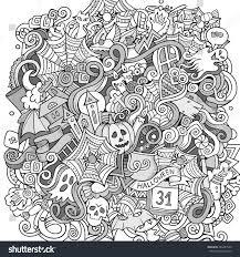 cartoon cute doodles hand drawn halloween stock vector 483487540