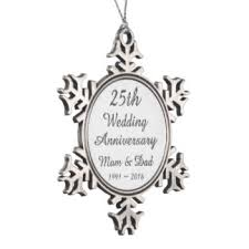 25th wedding anniversary christmas ornament parents 25th anniversary ornaments keepsake ornaments zazzle