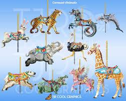 carousel animals carousel horses digital clip art realistic