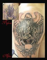 grim reaper coverup tattoo design for men photos pictures and