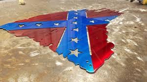 Flag Confederate Tattered And Torn Confederate Rebel Flag Metal Art Advanced