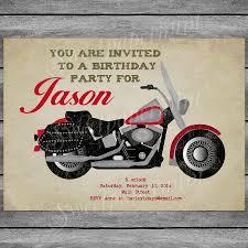 50th Birthday Invitation Card Motorcycle Birthday Invitation Card Vintage Boy Printable