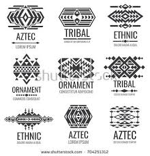 aztec tribal ethnic ornaments set collection stock vector