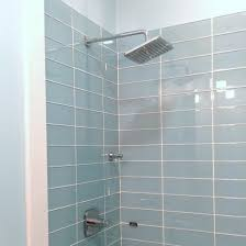 lush vapor 4x12 pale blue glass subway tile shower installation