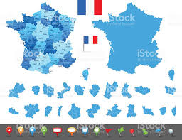 map of france states cities and navigation icons stock vector art