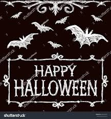 halloween logo black background halloween illustration bats fly creepy framework stock