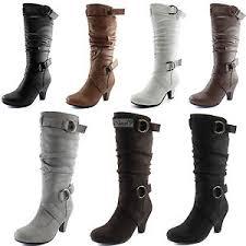 womens boots kitten heel toe kitten heel mid calf slouch ankle mid knee