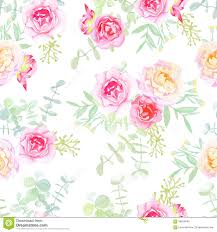 delicate roses seamless vector pattern in shabby chic style stock