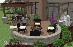 Large Paver Patio Design With Grill Station Bar Plan No by Backyard Patio Design With Pergola Fire Pit Area And Seating Wall