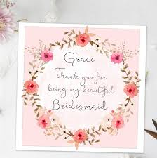 thank you bridesmaid cards thank you for being my bridesmaid card wreath by august grace