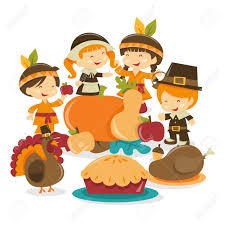 thanksgiving indians and pilgrims a cartoon vector illustration of a group of girls and boys dressed