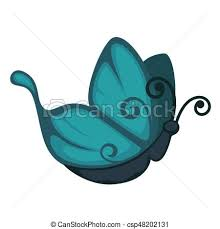 blue butterfly from side view isolated illustration