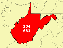 Map West Virginia by Area Codes 304 And 681 Wikipedia