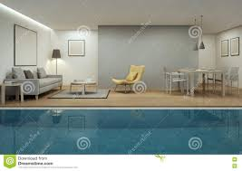 Modern House Living Room Living Room Dining Room And Swimming Pool In Modern House Stock