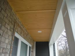 close up of the top of the custom porch ceiling iron grey hardie