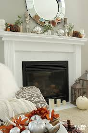 Fall Mantel Decor Using Fall Flowers And Foliage Setting For Four