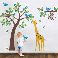 tree wall decal with monkeys giraffe and birds scheme a tree wall decal with monkeys giraffe and birds