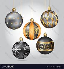 black ornaments hanging on gold thread vector image