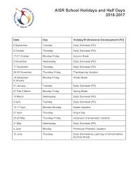 american international school of rotterdam aisr academic calendar