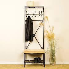 slim metal hall tree coat rack stand home entryway furniture