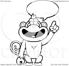 cartoon clipart of a black and white smart monkey talking vector