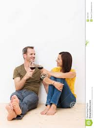 happy barefoot young couple celebrating royalty free stock