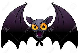 vector cartoon illustration of a halloween vampire bat with big
