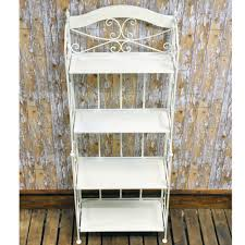Wrought Iron Bakers Rack With Glass Shelves Vintage Style Wrought Iron Antique White Cream Metal Folding 4
