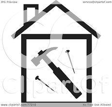 royalty free rf clipart illustration of a hammer and nails in a