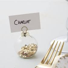gold star bauble place card holders christmas tableware