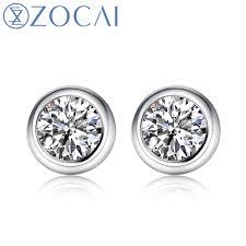real diamond earrings zocai new arrival pave setting 0 20 ct certified real diamond