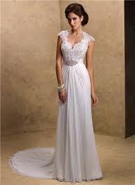 chiffon wedding dress sheath sweetheart cap sleeve open back lace chiffon wedding dress