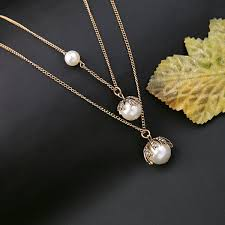 pearl necklace wholesale images Wholesale double layer detachable long chain pearl necklace jpg