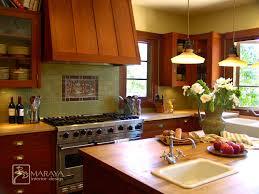 Tile Medallion Backsplash by Impressive Fir Cabinets In Kitchen Craftsman With Craftsman Tile