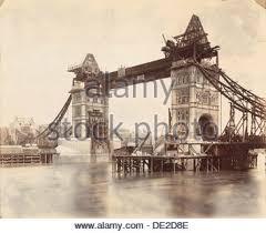 tower bridge under construction victorian period stock photo