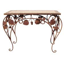 Outdoor Console Table Wrought Iron And Tile Indoor Outdoor Console Table For Sale At 1stdibs