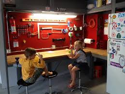 l shaped garage tips l shaped natural wood garage workbench ideas with undershelf
