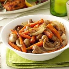 savory roasted carrots with mushrooms recipe taste of home