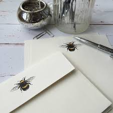 writing paper uk writing paper gift set wagtail designs writing paper with a bumble bee illustration