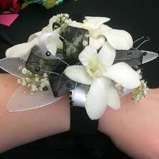black and white corsage deluxe white orchids with black ribbon prom corsage prom163