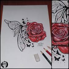 Fairy And Flower Tattoo Designs Custom Rose With Fairy Wing Tattoo Design By Blaze Rose Fairy