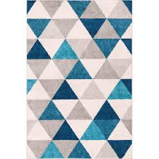 Blue Modern Rug Well Woven Mystic Alvin Blue 2 Ft X 3 Ft Mid Century Geometric