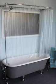 Showers And Tubs For Small Bathrooms Bathroom Exciting Shower Curtain With Cozy Clawfoot Tub For Small