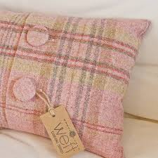 Pink Tartan Curtains Handmade Abraham Moon Wool Cushion By Weft Bespoke Design