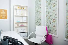 beautiful home office decorating ideas with soothing wallpaper