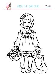 Coloriage petite fille et son chat  Momesnet