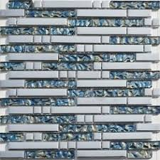 Metallic Mosaic Tile Mirror Brushed Black Kitchen Backsplash - Blue glass tile backsplash