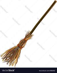witches broom stick old broom halloween royalty free vector
